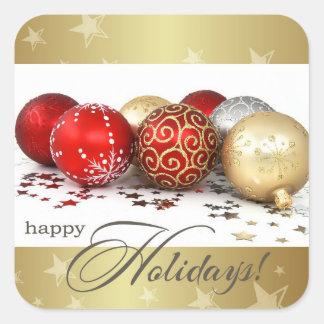 Pegatinas felices del regalo de Holidays.Christmas Pegatina Cuadradas Personalizada