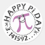 Pegatinas felices lindos del © del día del pi - pegatina redonda