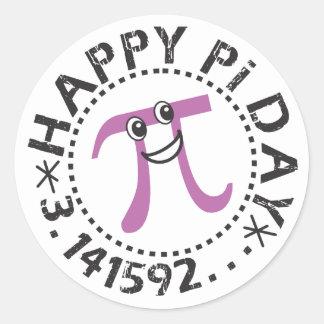 Pegatinas felices lindos del día del pi - regalos pegatina redonda