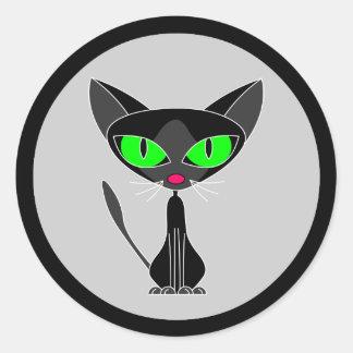 Pegatinas felinos de lujo del gato negro pegatina redonda