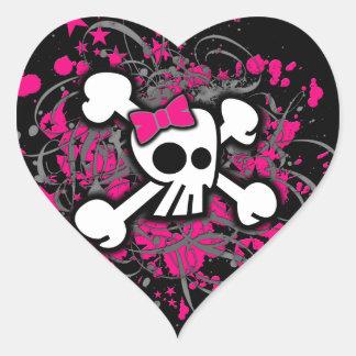 Pegatinas femeninos del cráneo y de la bandera pegatinas corazon personalizadas