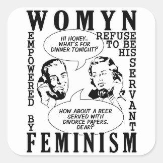 Pegatinas feministas retros del humor pegatina cuadrada