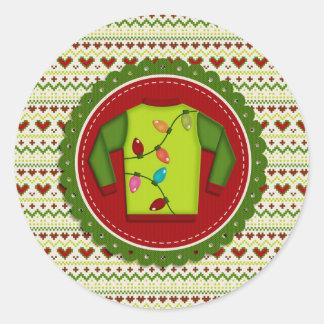 Pegatinas feos del fiesta del suéter del navidad pegatina redonda