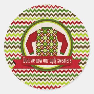 Pegatinas feos y pegajosos del fiesta del suéter pegatina redonda