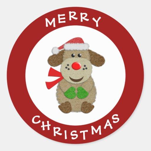 Pegatinas festivos rojos del navidad del perro etiqueta redonda