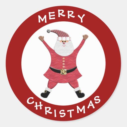 Pegatinas festivos rojos felices lindos del pegatina redonda