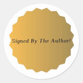 Pegatinas firmados oro de la copia pegatina redonda