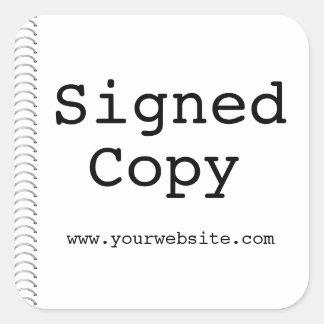 Pegatinas firmados personalizable del autor de la pegatina cuadrada