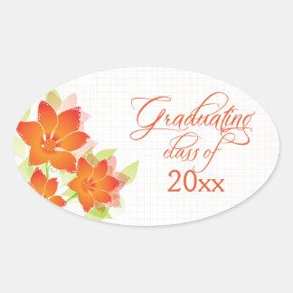 Pegatinas florales anaranjados elegantes de la pegatina ovalada