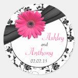 Pegatinas florales blancos del boda del negro rosa pegatinas redondas