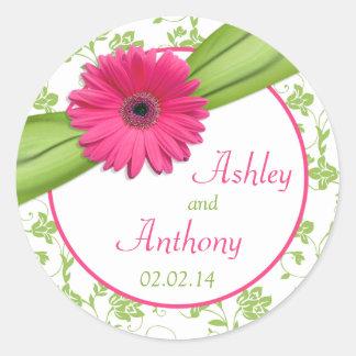 Pegatinas florales blancos del boda del verde rosa