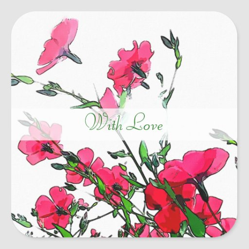 Pegatinas florales bonitos de Customizeable Pegatina Cuadrada