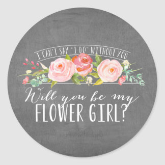 Pegatinas florales de la dama de honor del | pegatina redonda
