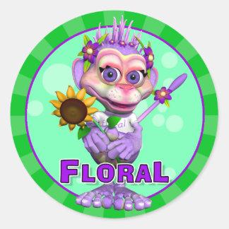Pegatinas florales de la diversión pegatina redonda