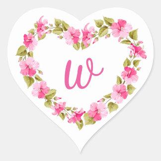 Pegatinas florales de la guirnalda del corazón del pegatina en forma de corazón