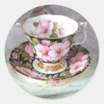 Pegatinas florales de la taza de té del rosa y del pegatina redonda