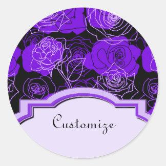 Pegatinas florales de los rosas púrpuras del pegatina redonda