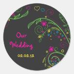 Pegatinas florales de neón del boda del Doodle de