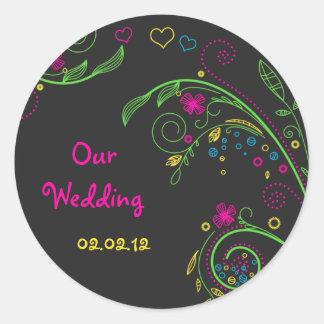 Pegatinas florales de neón del boda del Doodle de Pegatina Redonda