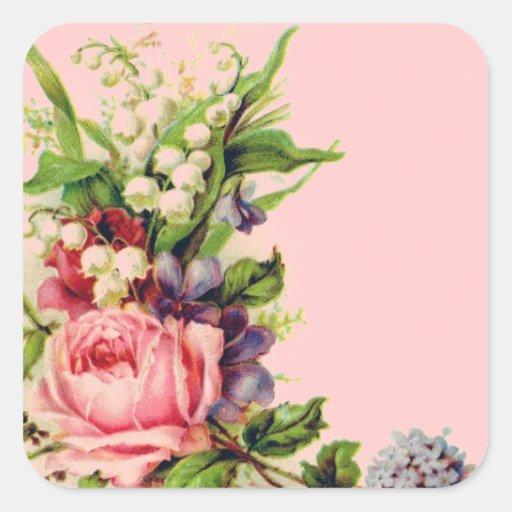 Pegatinas florales del aerosol del vintage calcomania cuadradas personalizada