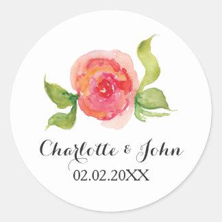 pegatinas florales del boda de la acuarela rosada pegatina redonda