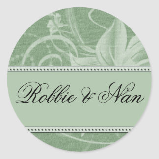 Pegatinas florales del boda de la verde salvia pegatina redonda