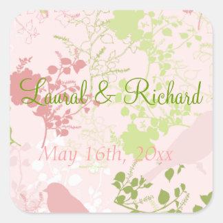 Pegatinas florales del boda del rosa y del verde calcomanías cuadradass personalizadas