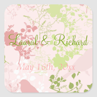 Pegatinas florales del boda del rosa y del verde pegatina cuadrada