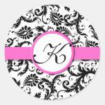 Pegatinas florales del boda del vintage rosado pegatina redonda