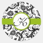 Pegatinas florales del boda del vintage verde del etiqueta redonda