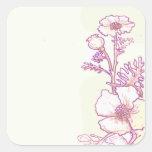 Pegatinas florales del bosquejo de la flor de la calcomanía cuadrada