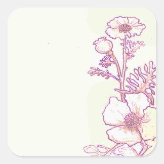 Pegatinas florales del bosquejo de la flor de la pegatina cuadrada