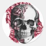 Pegatinas florales del cráneo pegatina redonda