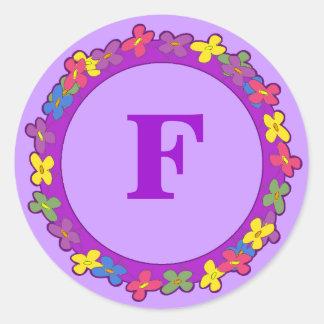 Pegatinas florales del monograma de la frontera pegatina redonda