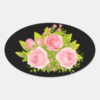 Pegatinas florales del negro del amor de las pegatina ovalada