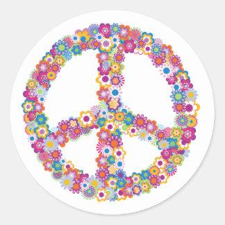 Pegatinas florales del signo de la paz pegatinas redondas