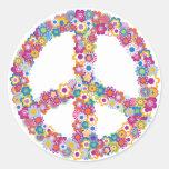 Pegatinas florales del signo de la paz