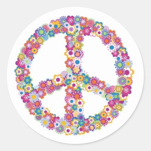 Pegatinas florales del signo de la paz pegatina redonda