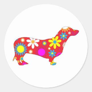Pegatinas florales enrrollados del perro del pegatina redonda