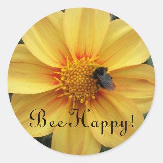 Pegatinas florales felices de la abeja etiquetas redondas