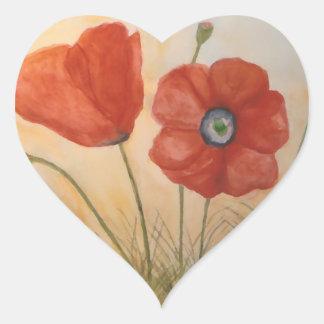 Pegatinas florales pegatina en forma de corazón