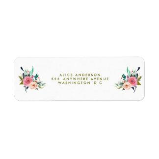 Pegatinas florales pintados del remite etiqueta de remitente
