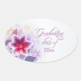 Pegatinas florales púrpuras de la graduación del