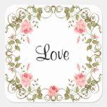 Pegatinas florales subiós vintage del amor