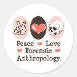 Pegatinas forenses de la antropología del amor de pegatinas redondas