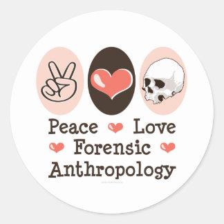 Pegatinas forenses de la antropología del amor de pegatina redonda