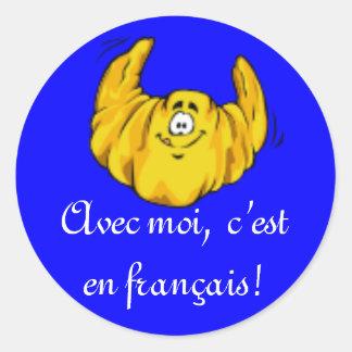Pegatinas franceses de la clase pegatina redonda