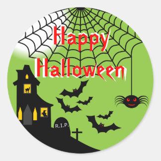 Pegatinas frecuentados de Halloween Etiqueta Redonda