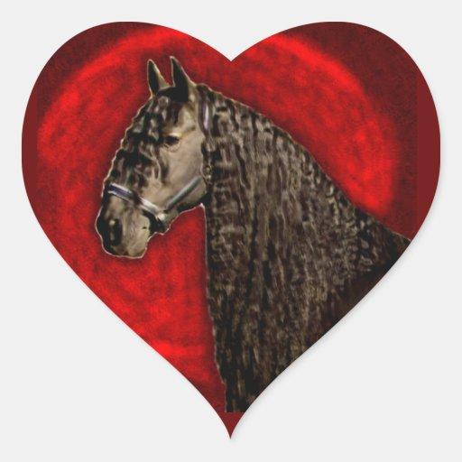 Pegatinas frisios del corazón del caballo pegatina en forma de corazón