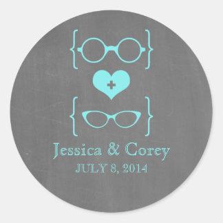 Pegatinas Geeky del boda de la pizarra de los Etiquetas Redondas